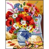 Canevas antique 50/65 bouquet champêtre - 47