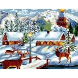 Canevas antique 50/65 village d'hiver - 47