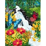 Canevas antique 50/65 cascade aux papillons - 47