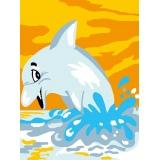 Kit canevas blanc 20/25 dauphin - 47