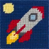 Kit canevas soudan20x20 La lune en fusée - 47