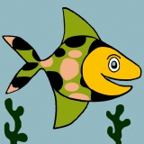 Kit canevas soudan 20/20cm poisson - 47