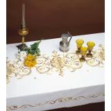 Nappe coton blanc bordée dentelle 150/200 - 47