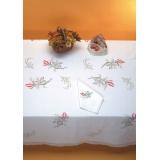 Nappe coton blanc bordée dentelle 150/300 - 47