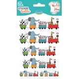 Sticker textile aladine train des animaux - 470