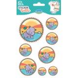 Sticker textile aladine médaillon hippo - 470