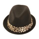 Trilby  bande léopard t.u noir - 473