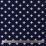 Tissu stenzo jersey croix blanc marine - 474