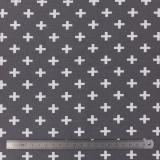 Tissu stenzo jersey croix blanc taupe - 474