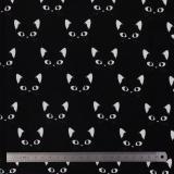 Tissu stenzo jersey chat blanc noir - 474