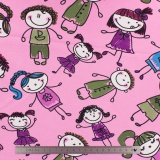Tissu Stenzo jersey bambins rose - 474