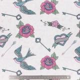 Tissu stenzo jersey rockabilly rose blanc - 474