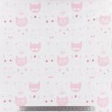 Tissu stenzo jersey chat rose brique blanc - 474