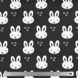 Tissu stenzo jersey lapin blanc noir - 474