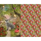 Tissu stenzo jersey lapin sous bois fleuri - 474