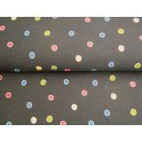 Tissu Stenzo jersey fond noir petit pois 150cm - 474