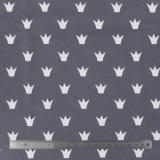 Tissu stenzo jersey couronne blanc gris - 474