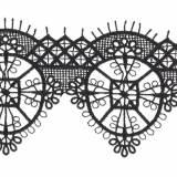 Macramé polyester motif 6x7cm noir - 493
