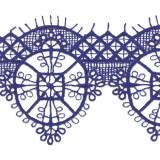 Macramé polyester motif 6x7cm bleu - 493