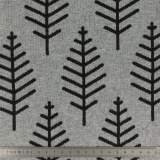 Tissu jacquard botanical trail coton gris 150cm - 495