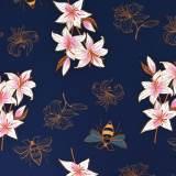 Tissu ALB sweat été glow lily marine imprimé 165cm - 495