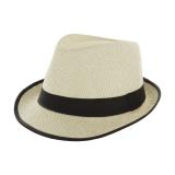Chapeau fedora paille naturel + ruban noir  t.u - 50