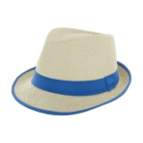 Chapeau fedora paille naturel + ruban bleu - t.u - 50