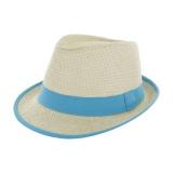 Chapeau fedora paille naturel + ruban turquois-t.u - 50