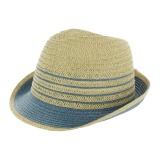Chapeau fedora paille ajustable bleu - t.u - 50