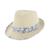 Chapeau de paille enfant ruban t.54 bleu - 50