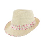 Chapeau de paille enfant ruban t.54 rose - 50