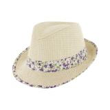 Chapeau de paille enfant ruban t.54 violet - 50