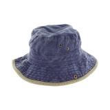 Chapeau brousse bicolore coton t.57 jean/beige - 50