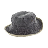 Chapeau brousse bicolore coton t.58 noir/beige - 50