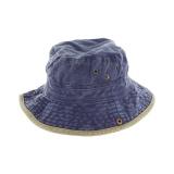 Chapeau brousse bicolore coton t.59 jean/beige - 50
