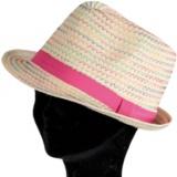 Chapeau enfant paille vert rose t.53 - 50
