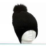 Bonnet pompon renard 100% acryl t.u noir - 50
