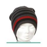 Bonnet  mixte 100% acryl  t.u gris rayé rouge - 50