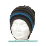 Bonnet mixte 100% acryl t.u gris rayé turquoise - 50