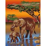 Tableau savane elephants - 55