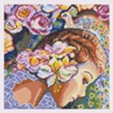 Tableau des fleurs au paon - 55