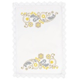 Nappe fil lin blanc rond 90 - 55