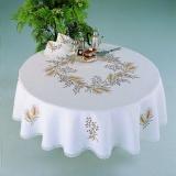 Nappe fil lin blanc ronde 160 - 55