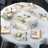 Nappe fil lin blanc 140/200 ovale - 55