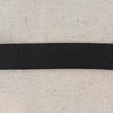 Tissé élastique poly.25mm noir