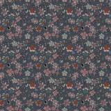 Tissu fleurettes ardoise - 64