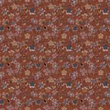 Tissu fleurettes roux - 64