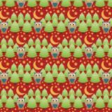 Tissu Hiboux rouge - 64