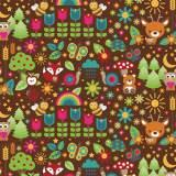 Tissu petite forêt chocolat - 64