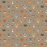 Tissu petits  animaux beige - 64